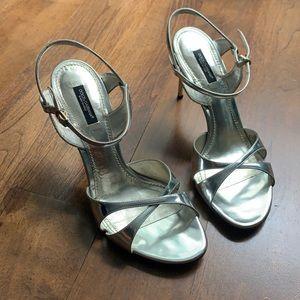Dolce & Gabbana high heeled silver sandals.